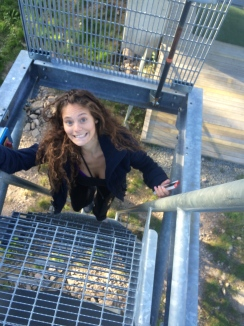 Nervous/Excited/Happy climbing up the abandoned ski lift