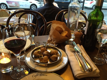 wine and escargot in Paris